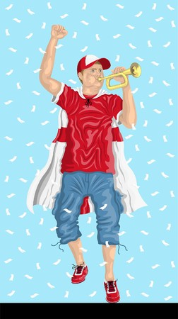 England Soccer Fan with Bugle English supporter, confetti papers and backgrounds in different layers. Illustration