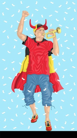 Belgium Soccer Fan with Bugle Belgian supporter, confetti papers and backgrounds in different layers. Illustration