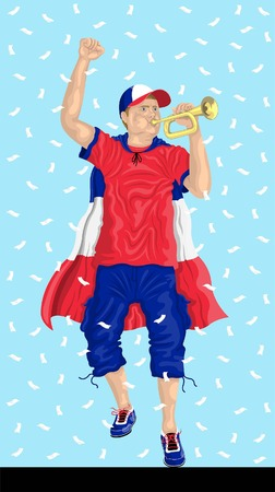 France Soccer Fan with Bugle French supporter, confetti papers and backgrounds in different layers.