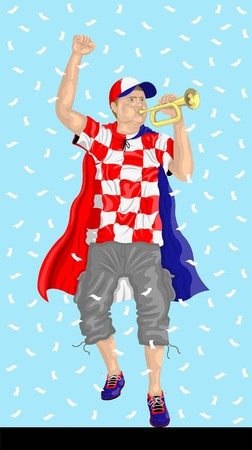 Croatia soccer fan with bugle Croatian supporter, confetti papers and backgrounds in different layers.