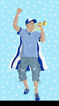 Uruguay soccer fan with bugle Uruguayan supporter, confetti papers and backgrounds in different layers. Illustration