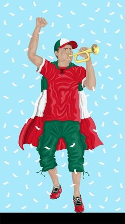 """""""멕시코 축구 팬과 bugle""""멕시코 후원자, 색종이 서류 및 다른 레이어에서 배경."""