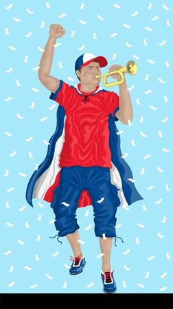 Costa Rica soccer fan with bugle Costa Rican supporter, confetti papers and backgrounds in different layers. Illustration