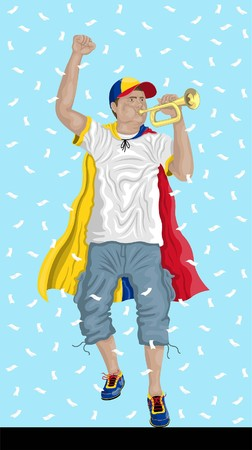 Colombia soccer fan with bugle Colombian supporter, confetti papers and backgrounds are in different layers. Ilustrace