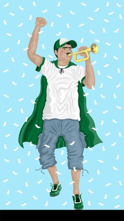 Saudi Arabia Soccer Fan with Bugle Arabic supporter, confetti papers and backgrounds in different layers. Illustration