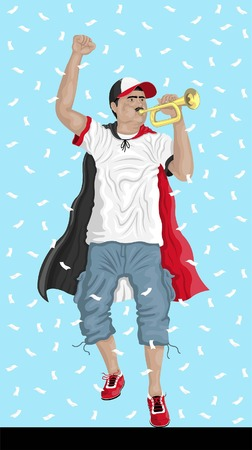Egypt Soccer Fan with Bugle Egyptian supporter, confetti papers and backgrounds in different layers. Illustration