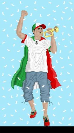"""""""이란 축구 팬 bugle""""페르시아어 후원자, confetti 논문 및 다른 레이어에서 배경."""