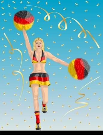 """""""German Cheerleader of Germany Fans"""" Cheerleader girl, confetti papers and background are in different layers."""