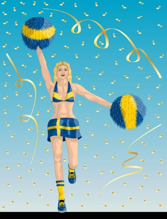 """""""Swede Cheerleader of Sweden Fans"""" Cheerleader girl, confetti papers and background are in different layers. Çizim"""