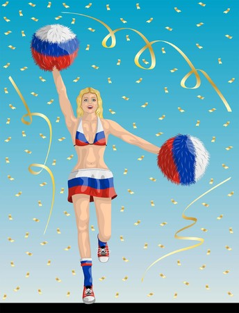 """""""Russian Cheerleader of Russia Fans"""" Cheerleader girl, confetti papers and background are in different layers."""