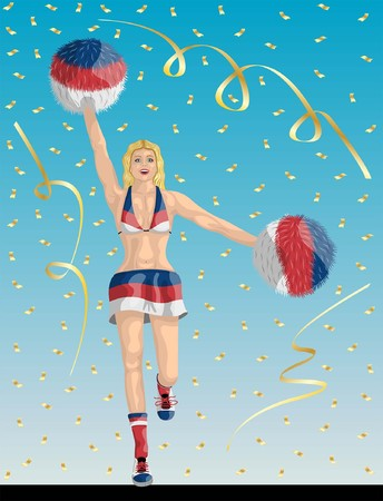 """""""Serbian Cheerleader of Serbia Fans"""" Cheerleader girl, confetti papers and background are in different layers."""