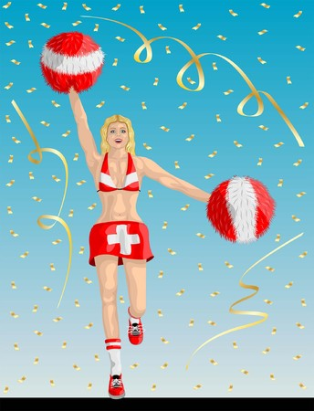 """Swiss Cheerleader of Switzerland Fans"" Cheerleader girl, confetti papers and background are in different layers. Illustration"