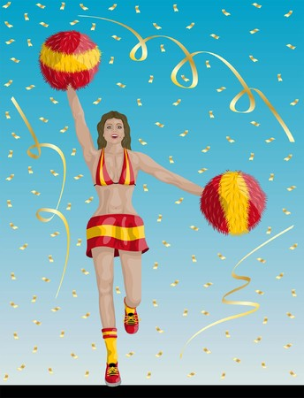 """Spanish Cheerleader of Spain Fans"" Cheerleader girl, confetti papers and background are in different layers. Illustration"