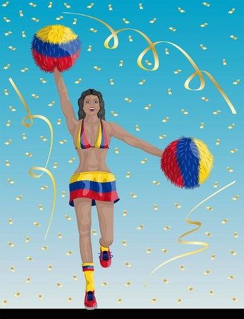 """""""Colombian Cheerleader of Colombia Fans"""" Cheerleader girl, confetti papers and background are in different layers."""