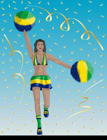 """""""Brazilian Cheerleader of Brazil Fans"""" Cheerleader girl, confetti papers and background are in different layers."""