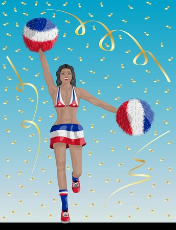 """""""Cuban Cheerleader of Cuba Fans"""" Cheerleader girl, confetti papers and background are in different layers."""