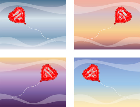 Happy Valentines Day Balloon Flying. The text types were converted to outlines and do not need any fonts.