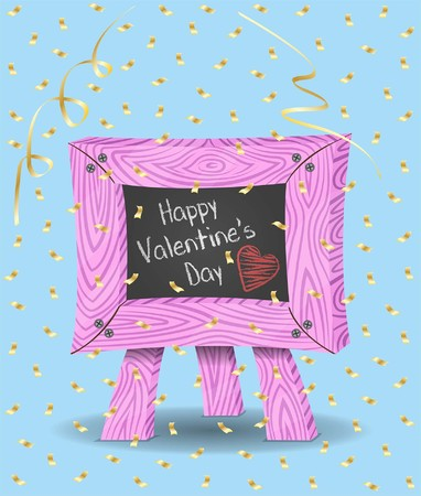 Valentines day message on chalkboard and confetti. Chalkboard, confetti papers and backgrounds in different layers. The text types do not need any fonts. Vettoriali