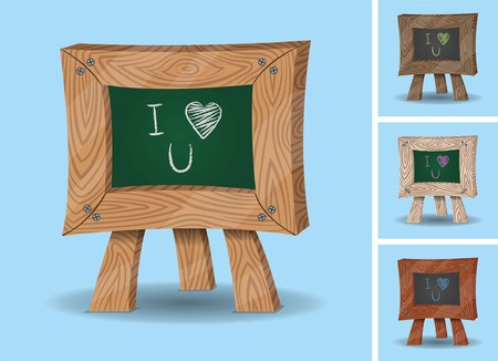 I love you message on mini chalkboard. All the chalkboard images are in different layers and the text types do not need any font.