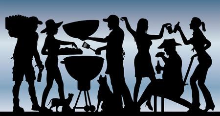 Memorial Day-het silhouet van de barbecuepartij voor blauwe hemel. Stockfoto - 95597479