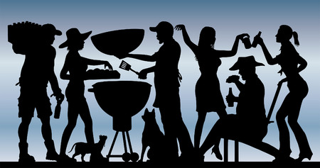 Memorial Day barbeque party silhouette in front of blue sky. Illustration