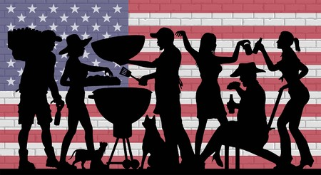 BBQ Party Silhouette in front of Brick Wall with USA Flag. The silhouette image is a different layer and it can be used without background image.