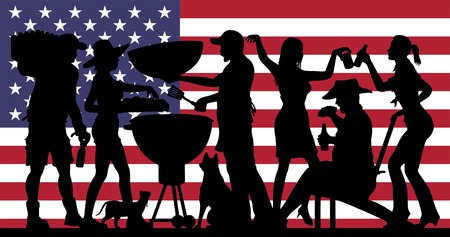 Barbecue Party Silhouette in front of USA Flag. Vectores