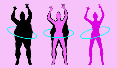 Fat and Slim Woman Silhouette Exercising with round Hoop. All the objects are in different layers.
