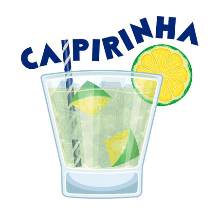 Caipirinha Cocktail with Drinking Straw. All the objects are in different layers and the text types do not need any font. Banco de Imagens - 96521767