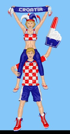 Croatian Fans Supporting Croatia Team with Scarf and Foam Finger.