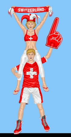 Swiss Fans Supporting Switzerland Team with Scarf and Foam Finger.