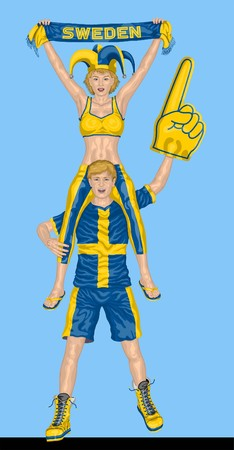 Swedish Fans Supporting Sweden Team with Scarf and Foam Finger vector illustration
