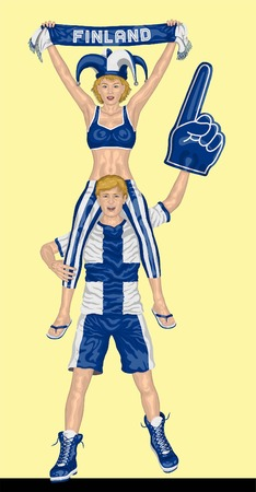 Finn Fans Supporting Finland Team with Scarf and Foam Finger. All the objects are in different layers and the text types do not need any font. Illustration
