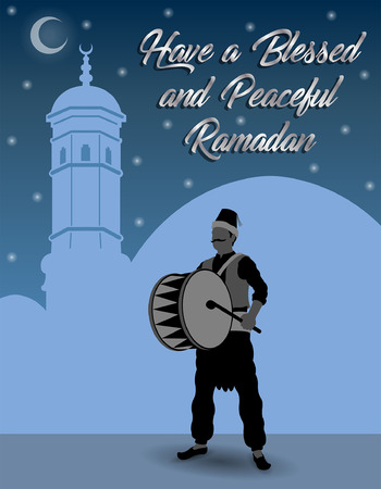 Ramadan Wishes with Ramadan Drummer. All the objects are in different layers and the text types do not need any font.