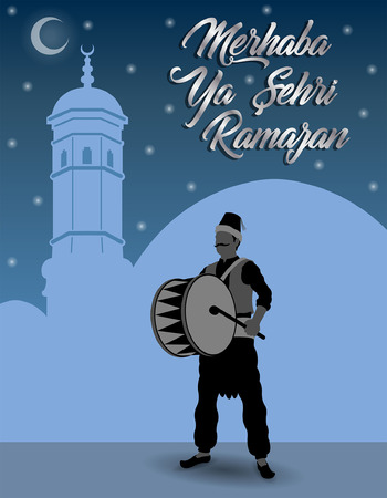 Turkish Ramadan greeting with Ramadan Drummer in front of blue sky. All the objects are in different layers and the text types do not need any font.