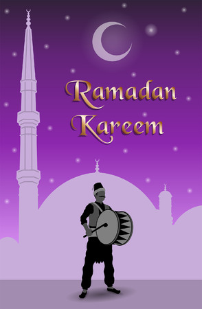 Ramadan kareem message with ramadan drummer. All the objects are in different layers and the text types do not need any font. Stock fotó - 101051020