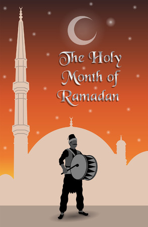 The holy month of ramadan message with ramadan drummer. All the objects are in different layers and the text types do not need any font.