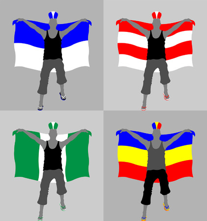 Sport supporter silhouette with punk hairstyle and flag. All the objects and four different silhouettes are in different layers.