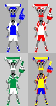 Sport supporter silhouette with scarf and foam finger. All the objects and four different silhouettes are in different layers. Illustration