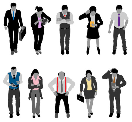 Businessman and businesswoman silhouettes with their colorful colorful accessories. All the objects and silhouettes are in different layers.