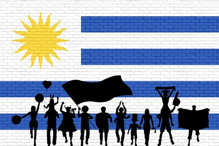 Uruguayan supporter silhouette in front of brick wall with Uruguayan flag. All the objects, silhouettes and the brick wall are in different layers.