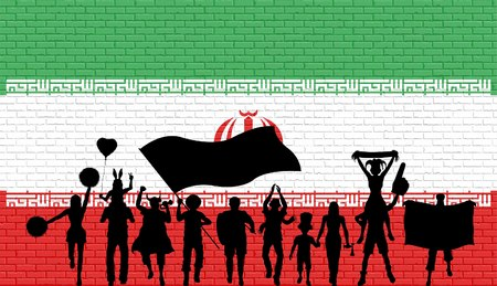Persian supporter silhouette in front of brick wall with flag. All the objects, silhouettes and the brick wall are in different layers.