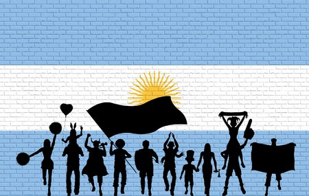 Argentinian supporter silhouette in front of brick wall with Argentina flag. All the objects, silhouettes and the brick wall are in different layers. Illustration