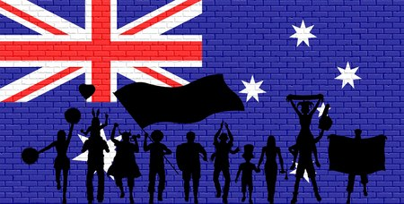 Australian supporter silhouette in front of brick wall with Australia flag. All the objects, silhouettes and the brick wall are in different layers. Illustration