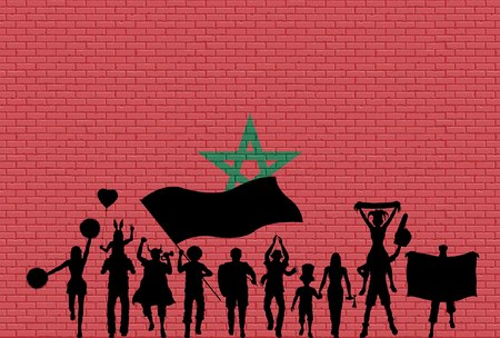 Moroccan flag on metal shiny shield illustration. All the objects, silhouettes and the brick wall are in different layers.