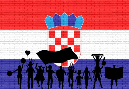 Croatian supporter silhouette in front of brick wall with Croatia flag. All the objects, silhouettes and the brick wall are in different layers. Illustration