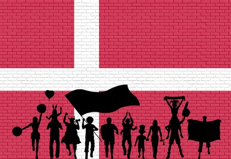 Danish supporter silhouette in front of brick wall with Denmark flag. All the objects, silhouettes and the brick wall are in different layers. Illustration
