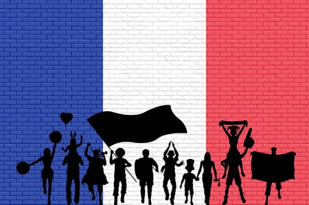 French supporter silhouette in front of brick wall with France flag. All the objects, silhouettes and the brick wall are in different layers.