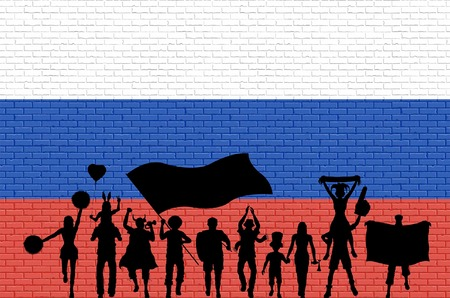Russian supporter silhouette in front of brick wall with Russia flag. All the objects, silhouettes and the brick wall are in different layers.