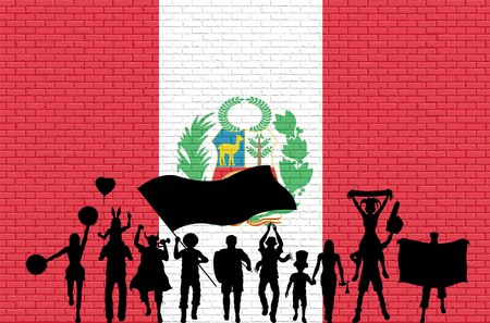 Peruvian flag on metal shiny shield illustration. All the objects, silhouettes and the brick wall are in different layers. Illustration